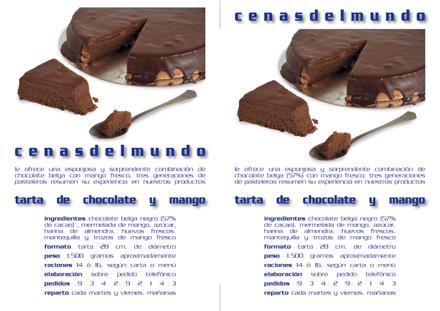 octavilla promocional tarta de chocolate y mango