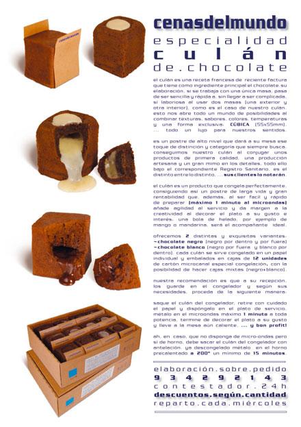 octavilla promocional culán de chocolate