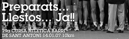 cartel anunciador 29ª cursa atlética del barri de sant antoni 2007