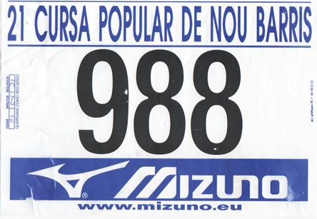 dorsal de la cursa popular de nou barris 2007
