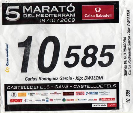 dorsal marató del mediterrani'09